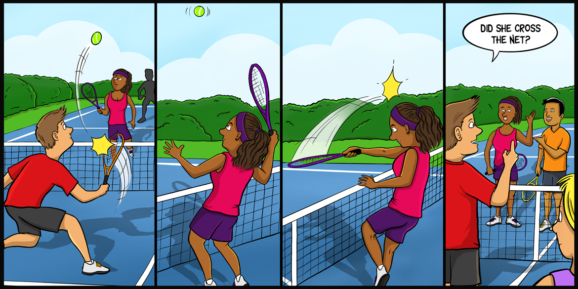 <h2>Racquet crosses the net</h2> <h1>Do I lose the point?</h1>