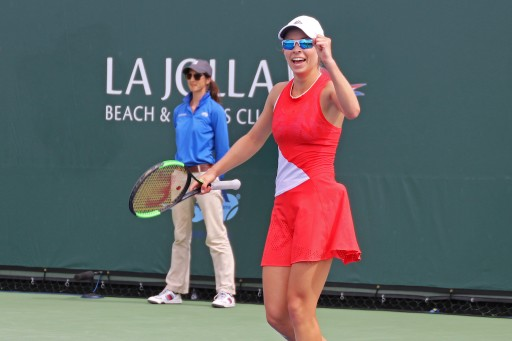 Katie Volynets showing emotion during a match point.