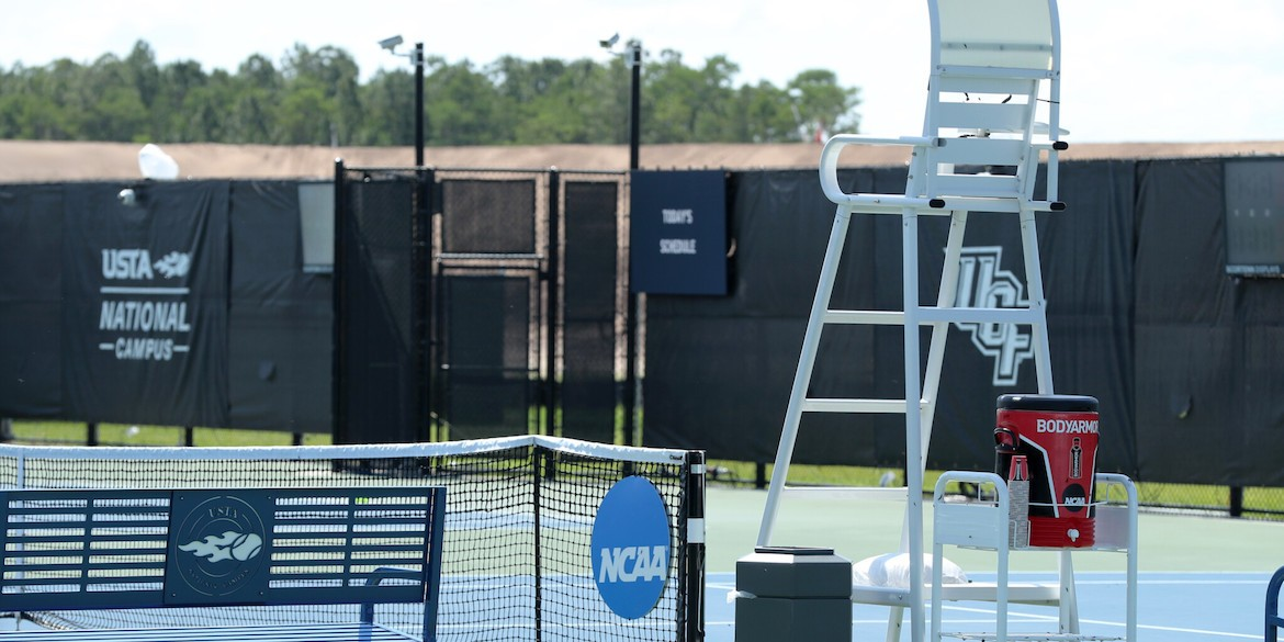 ORLANDO, FL - MAY 16: Signage and court furniture during the Men's quarterfinal team doubles matches between the University of Virginia and Wake Forest during the 2019 NCAA National Championships at the USTA National Campus in Orlando, Florida on May 16, 2019. (Photo by Joe Murphy/USTA)