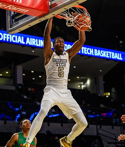 Wright dunks against Florida A&M. Photo courtesy of Georgia Tech Athletics.