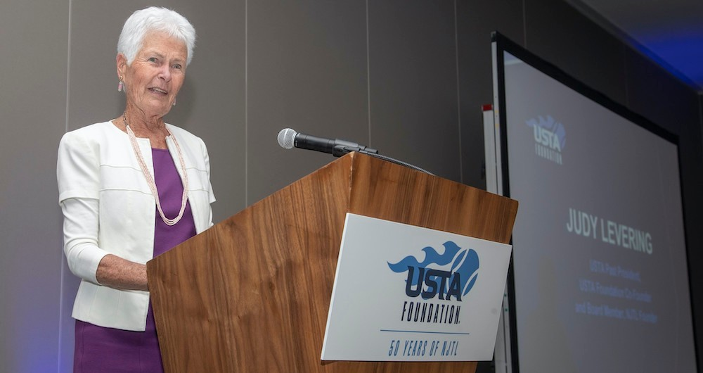 Levering celebrating 50 years of NJTL at a USTA Foundation luncheon in 2019. (Photo credit: Susan Mullane/Camerawork USA)