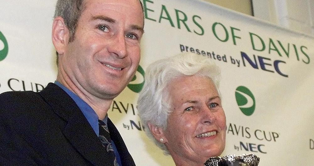 Levering and John McEnroe at a Davis Cup press conference in 1999. (Photo credit: Getty Images)