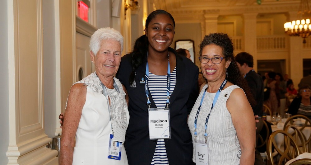 Levering celebrating 50 years of NJTL at a USTA Foundation luncheon in 2019. (Photo credit: Steven Freeman/USTA)