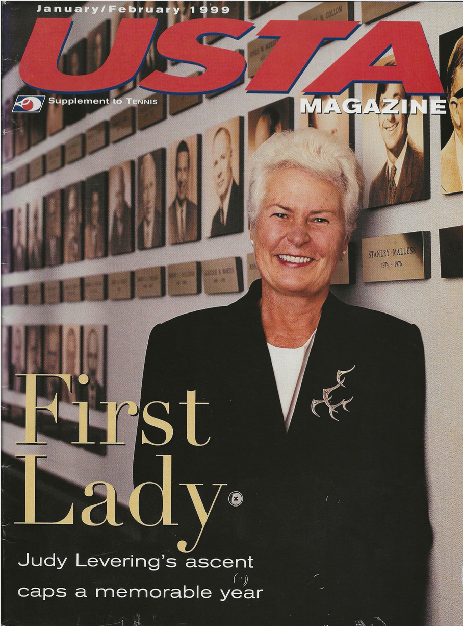 Judy Levering graced the cover of the January/February 1999 issue of USTA magazine.