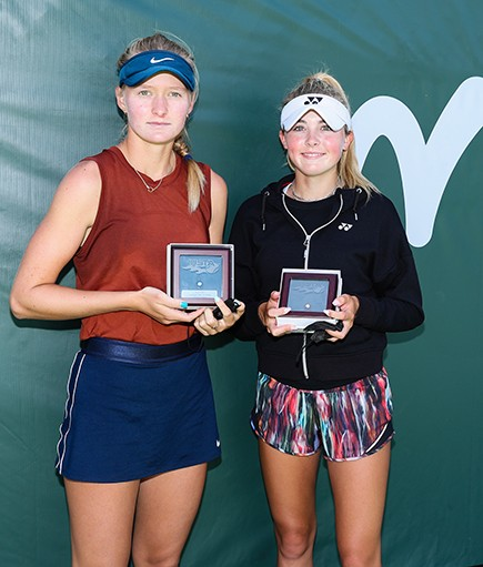 Finalist Elvina Kalieva (left) and champion Liv Hovde (right) at the ITF Easter Bowl trophy ceremony. Photo credit: Derrick Tuskan