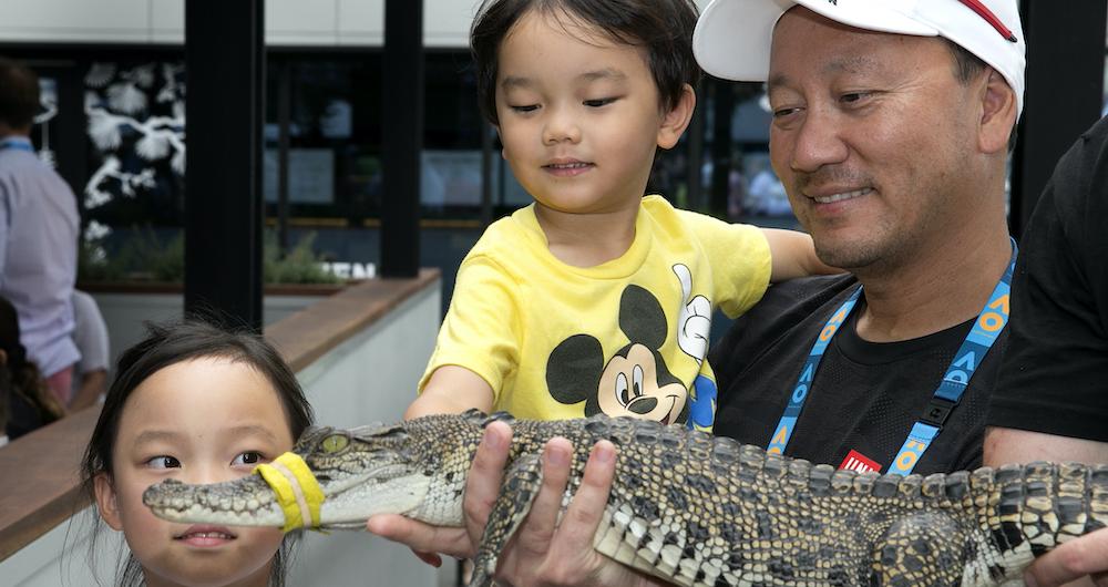Michael Chang y sus hijos se encuentran con un cocodrilo en el 2019  Abierto de Australia. (Crédito de la foto: Getty Images)